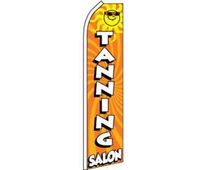 Tanning Salon Orange Swooper Super Feather Advertising Flag