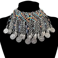 Beautiful Bohemian Silver Plated Coins Bib Choker Necklace Black