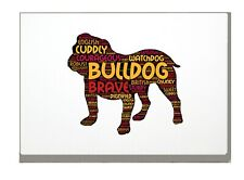 More details for bulldog art print bulldog word art a4 a3 mothers day gift personalised option