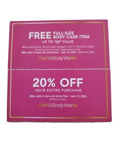 Bath Body Works 20% Off And Full Size Bodycare June 13