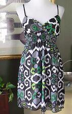 Cotta G Green/Black/White/Gray Crinkle Poly Surplice Empire Dress M