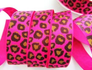 "10 yards Color Leopard Wild Print Animal 7/8"" Grosgrain Ribbon R158-Blue Or Pink"