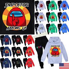 Kids Imposter Among Us Casual Hoodie Sweatshirt + Pants Boys Girls Sport Wear