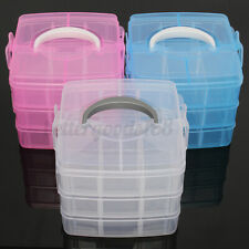 3 Layers Clear Plastic Jewelry Bead Storage Box Container Craft Organizer Case