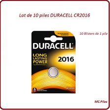 Lot de 10 piles boutons CR2016 lithium Duracell, livraison rapide et gratuite