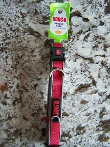 """New KONG  PADDED COLLAR COMFORT REFLECTIVE DOG SIZE M 14""""-20"""" RED"""