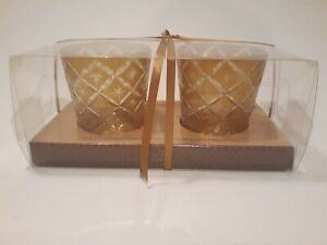 """Bombay Company 3.2 X 4.1"""" Large Gold Pattern Glass Votive Holders Gift Boxed (2)"""