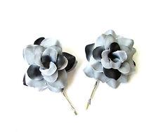 2 x Grey Black Silver Rose Flower Hair Grips Clips Bobby Pins Slides Goth 2140