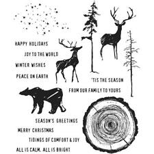 "Tim Holtz Stampers Anonymous ""GREAT OUTDOORS"" Holiday Rubber Cling Stamp Set"