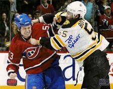 Johnny Boychuk Boston Bruins Signed Fight vs Montreal Canadiens Ryan White 8x10