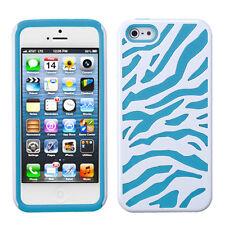 iPHONE SE 5S - HARD & SOFT DUAL LAYER HYBRID FUSION CASE BLUE WHITE ZEBRA COMBO