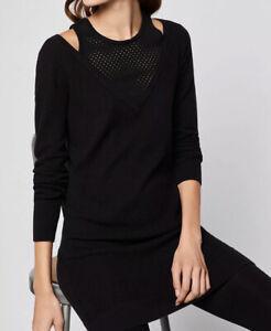 BCBG BCBGeneration Mesh Insert Sweater Black Dress Size XXS NWT $108