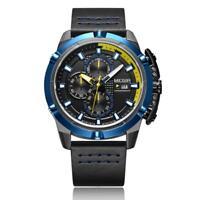 MEGIR Men Business Sport Multi-functional Watch Leather Strap Date Wristwatch
