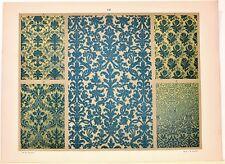 Stampa antica DECORAZIONI TESSUTI STOFFE Tav 141 botanica 1883 Old antique print