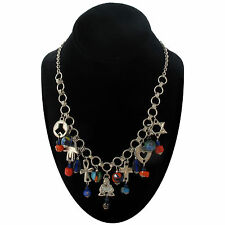 Mosaic Glass Beaded Coexist In Peace Fringe Necklace