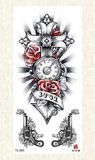 US SELLER, gun clock cross temporary tattoo body of art tattoo