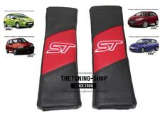 """2x Ceinture de sécurité Couvre Pads NOIR & ROUGE CUIR """"ST"""" Edition pour Ford Fiesta"""