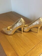 Dorothy Perkins Gold Glitter Heels Shoes 5