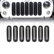 Clip-in Front Insert Mesh Cover Grille Trim for 07-18 Jeep Wrangler JK 7PCS