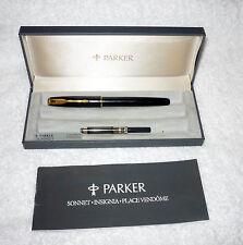VINT PARKER SONNET INSIGNIA BLACK LAQUE FOUNTAIN PEN 18K GOLD NIB 750 BOX BOOK