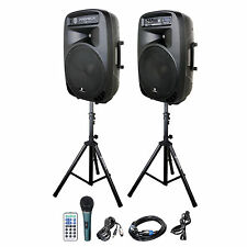 PRORECK 15-Inch 2000 Watt 2-Way Powered PA Speaker System with Bluetooth/USB/SD