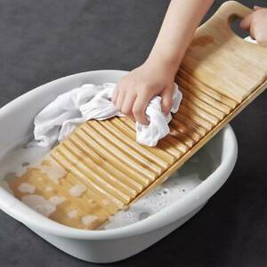 Bamboo Washboard Made of Wooden Board Wash Clean Laundry Clothes Home w/ Gloves