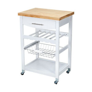 Wooden Kitchen Food Utility Trolley Cart Drawer 2 Shelves Cabinet Rack White F1