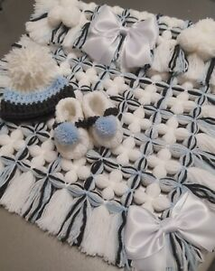 BABY POMPOM PRAM BLANKET, BLUE DARK GREY & WHITE. POMPOM HAT & BOOTIES NEWBORN