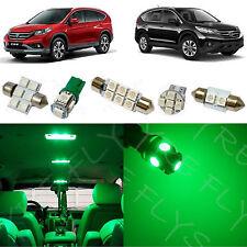 6x Green LED lights interior package kit for 2007-2012 Honda CR-V HV1G