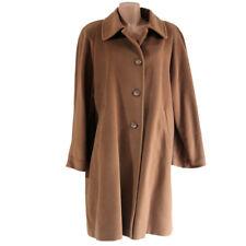 Cappotto Lana Merinos 50 marrone made italy donna giacca lunga cammello marrone