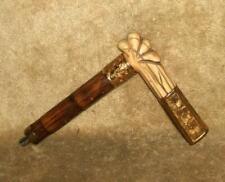 Victorian Edwardian Cane Walking Stick Umbrella Handle Gold Accents Hallmarked H