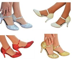 New Ladies Ankle Strap Sparkly Glitter Party Low Kitten Heel Sandals Shoes 3-8