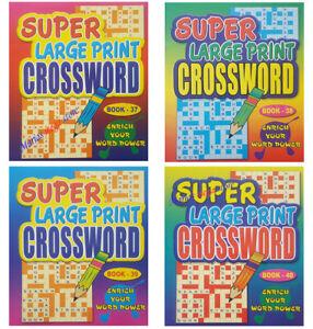 A4 SUPER LARGE PRINT CROSSWORD PUZZLE BOOKS BOOK KIDS ADULTS 76 -304 PUZZLES
