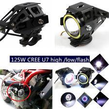 2PCS 125W CREE U7 Motorcycle high /low/flash Driving Fog Spot Light Bulb &Switch