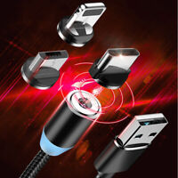 3A Micro USB 360° Magnetic Fast Charger Charging Cable For iPhone Android Type C