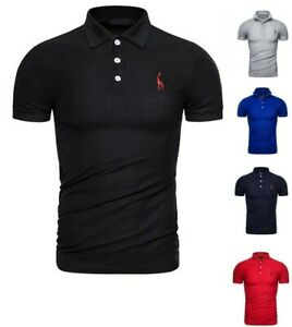 Men's Polo Shirt Short Sleeve Top Pique Fabric 100% Cotton Slim Fit PL12