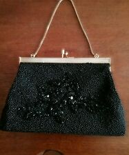 gorgeous 1950s glass beaded evening bag.Like new.Black