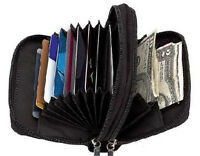 Black Leather Accordion Lady's Wallet Zip Around ID Credit Card Case Holder