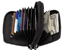 Black Leather Credit Business Card ID Women's Accordion Wallet Holder 2 Zip NR