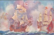 Postcard Shipping !8th century Battleship HMS Rodney fighting Spanish  Unposted
