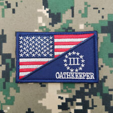 USA Flag / Three Percent Oathkeeper Us Militray Tactical Morale Hook Patch Navy