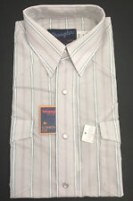 New listing Usa Vintage Wrangler Mens Gray Stripe Shirt 15.5 MedIum Cut X-LgTail