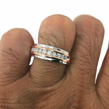Men's Diamond+ 10K White & Rose Gold Over 1.25ct Wedding Band Ring Channel Set