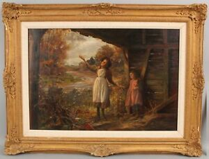 Antique PHILIP T GILCHRIST Genre Oil Painting, Young Country Girls in Barn NR