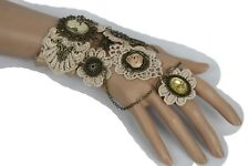 Women Antique Gold Metal Hand Chain Fashion Slave Ring Big Flower Butterfly Lace