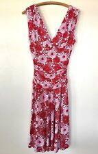 Arden B Dress Small Red White Sleeveless Stretch Womens Floral Print Sexy