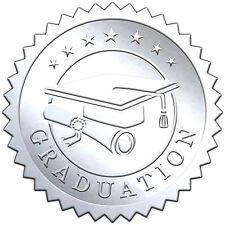 "Elegant SILVER embossed foil certificate seals ""GRADUATION"" - 50 pack"