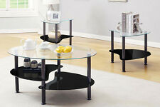 Innovex Cresent Coffee End Table with A Clear Top Glass, Black Set of 3 CE003G29
