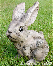 More details for wood effect baby rabbit garden ornament decoration sculpture bunny lover gift