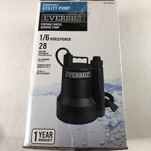 Everbilt 1/6 HP Submersible Utility Pump SUP54-HD Portable Used